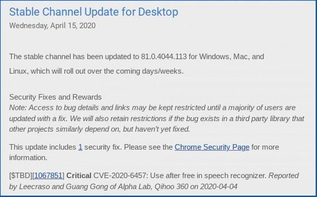 谷歌发布Chrome紧急补丁 修复CVE-2020-6457漏洞